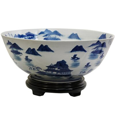 Bowl with Blue Landscape Design in White