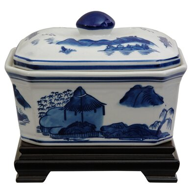 Covered Jar with Blue Landscape Design in White