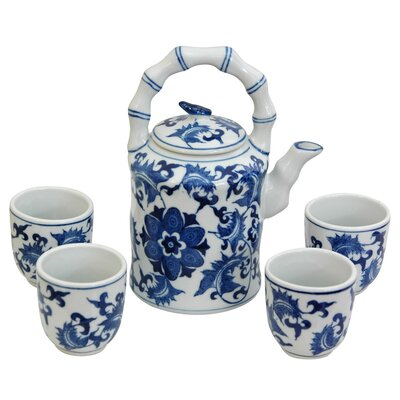 Oriental Furniture 5 Piece Porcelain Floral Tea Set in Blue and White