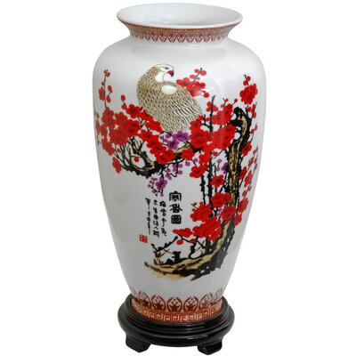 Oriental Furniture Tung Chi Vase with Cherry Blossom Design in White