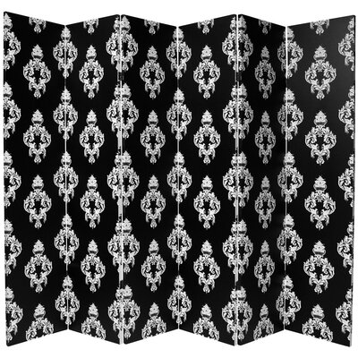 Oriental Furniture Double Sided Damask Canvas 6 Panel Room Divider in Black and White
