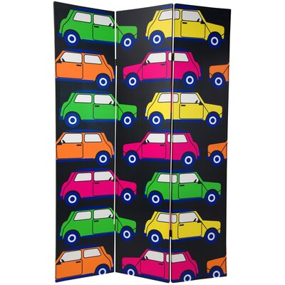 "Oriental Furniture 70.88"" x 47"" Double Sided Colorful Cars 3 Panel Room Divider"