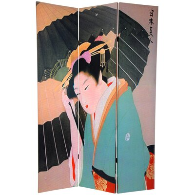 "Oriental Furniture 70.88"" x 47"" Double Sided Geisha 3 Panel Room Divider"