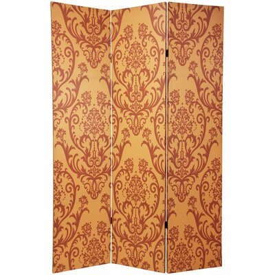 Double Sided Damask Room Divider in Orange and Yellow