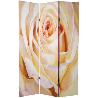 Oriental Furniture Double Sided Roses Room Divider in White and Violet