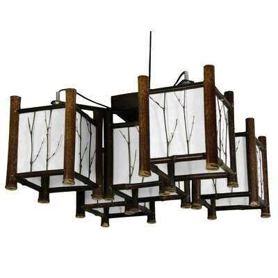 Oriental Furniture Watashi 5 Light Japanese Hanging Lantern Chandelier