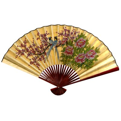 "Oriental Furniture 12"" x 20"" Love Birds Wall Fan in Gold Leaf"