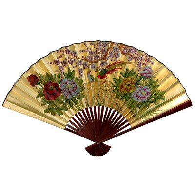"Oriental Furniture 12"" x 20"" Cherry Blossom Wall Fan in Gold Leaf"