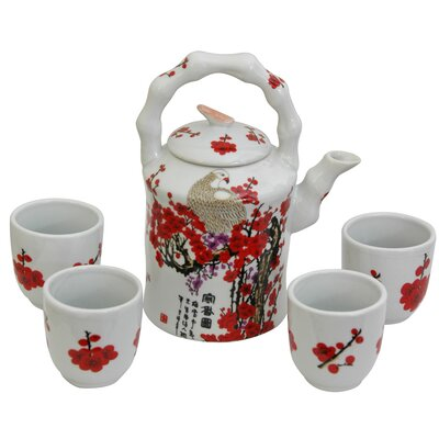 5 Piece Porcelain Cherry Blossom Tea Set in White