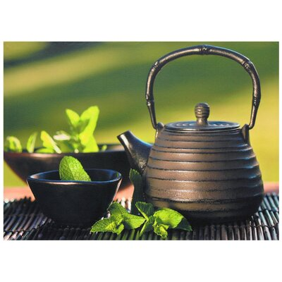 "Oriental Furniture Teapot on Bamboo Mat Canvas Wall Art - 19.75"" x 19.75"""