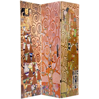 "Oriental Furniture 71.25"" x 47.25"" Double Sided Works of Klimt Stoclet Frieze 3 Panel Room Divider"