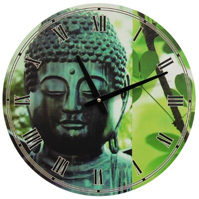 Buddha Round Wall Clock in Green Patina