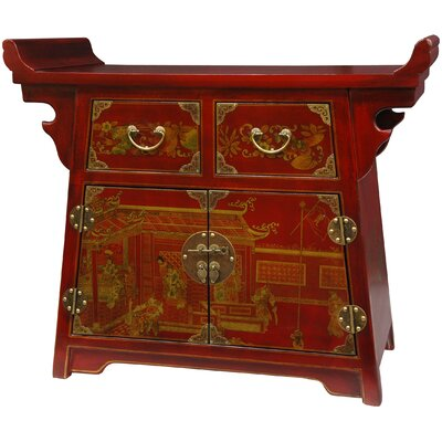 Oriental Furniture Village Life Altar Cabinet in Red Lacquer