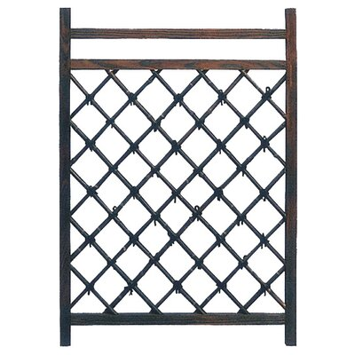 Oriental Furniture Wood and Bamboo Fence Door in Rustic and Dark Stained
