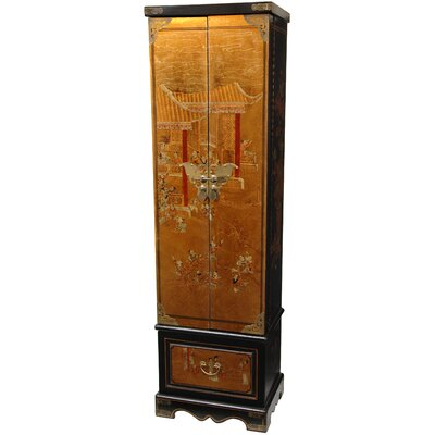Tall Floor Jewelry Armoire in Antique Gold Leaf Lacquer