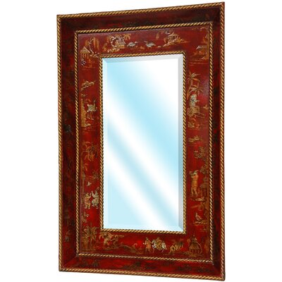 Decorative Wall Mirror in Red Lacquer