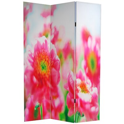 Oriental Furniture Double Sided Summer Flowers Canvas Room Divider