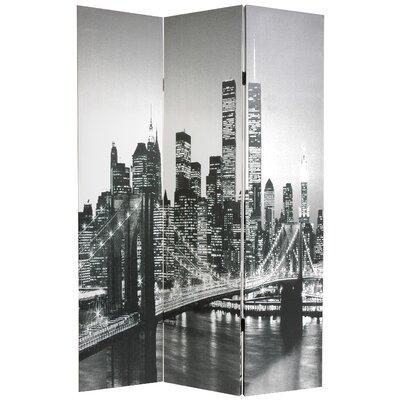 Oriental Furniture Double Sided New York Scenes Room Divider