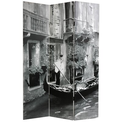 Oriental Furniture Double Sided Scenes of Venice Canvas Room Divider