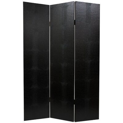 Oriental Furniture Faux Leather Crocodile Room Divider in Black