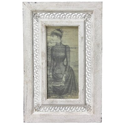 Oriental Furniture Rustic Victorian Lady Framed Picture