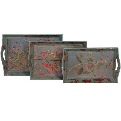 Oriental Furniture Rustic Herbal Tray (Set of 3)