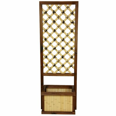 Oriental Furniture Japanese Bamboo Trellis with Planter
