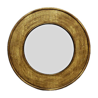 Antique Gold Round Calligraphy Wall Mirror
