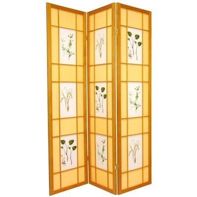 Herbal Scene Shoji Room Divider in Honey