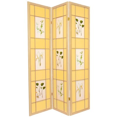 "Oriental Furniture 72"" Herbal Scene Shoji Room Divider"
