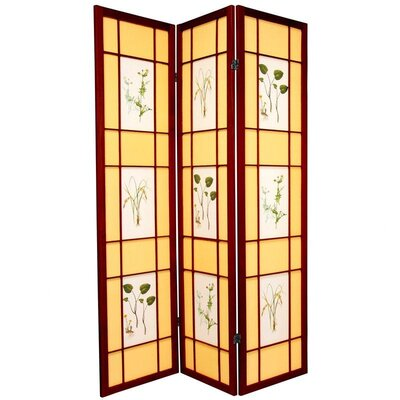 Oriental Furniture Herbal Scene Shoji Room Divider in Rosewood