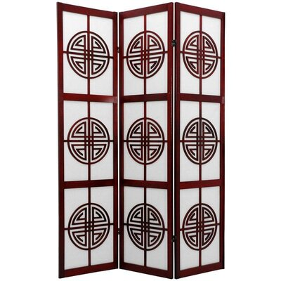 Oriental Furniture Long Life Decorative Shoji Room Divider in Rosewood