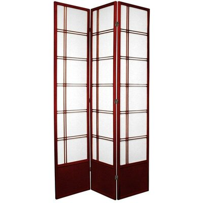 Oriental Furniture Double Cross Shoji Room Divider in Rosewood