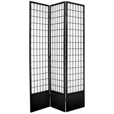 Oriental Furniture Window Pane Shoji Room Divider in Black