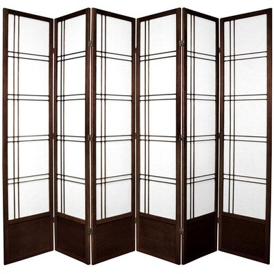 Oriental Furniture 6.5 Feet Tall Double Cross Shoji Screen in Walnut