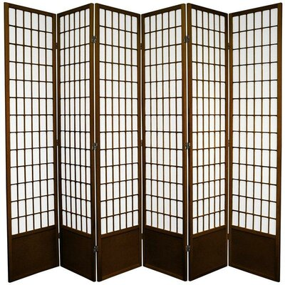 Oriental Furniture 7 Feet Tall Window Pane Shoji Screen in Walnut