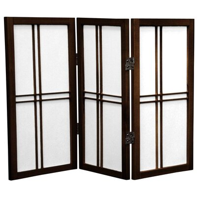 Oriental Furniture 2 Feet Tall Desktop Double Cross Shoji Screen in Walnut