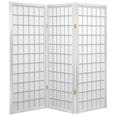4 Feet Tall Window Pane Shoji Screen in White