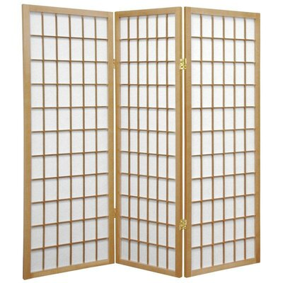 Oriental Furniture 4 Feet Tall Window Pane Shoji Screen in Natural