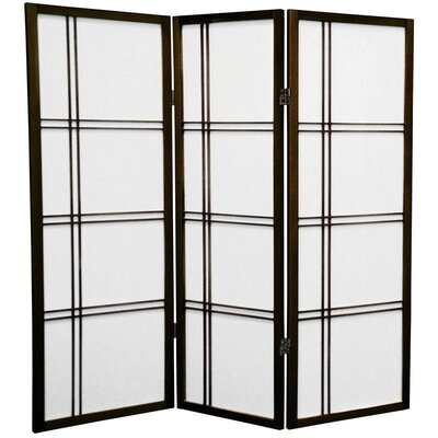 4 Feet Tall Double Cross Shoji Screen in Walnut