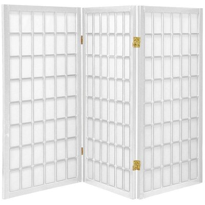 3 Feet Tall Window Pane Shoji Screen in White