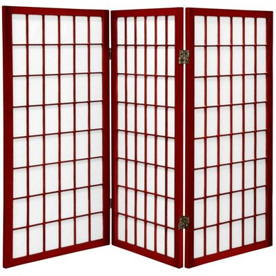 Oriental Furniture 3 Feet Tall Window Pane Shoji Screen in Rosewood