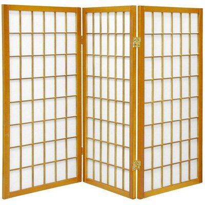 Oriental Furniture 3 Feet Tall Window Pane Shoji Screen in Honey