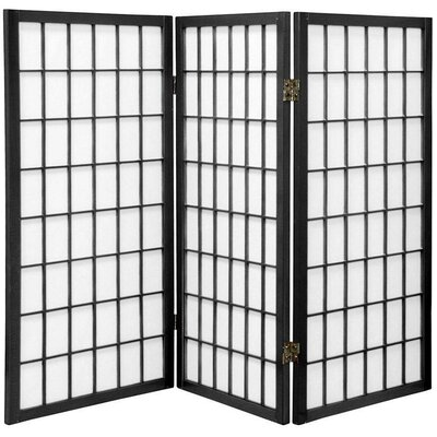 Oriental Furniture 3 Feet Tall Window Pane Shoji Screen in Black