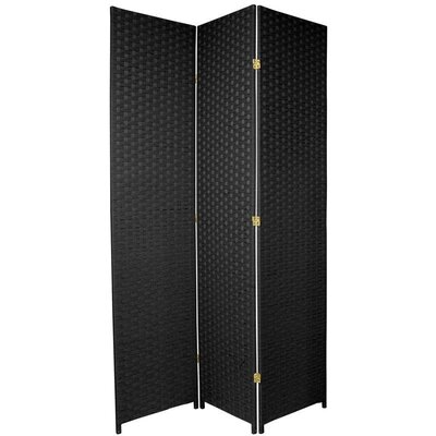 Oriental Furniture Tall Woven Fiber Room Divider in Black