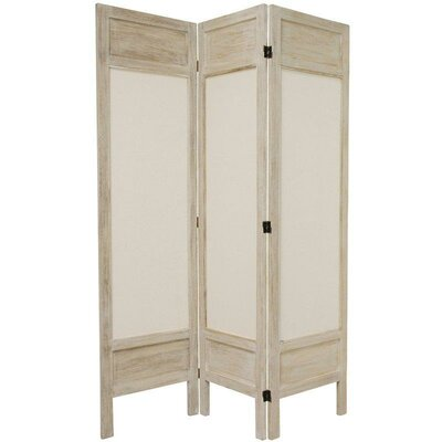Oriental Furniture 6 Feet Tall Solid Frame Fabric Room Divider in Burnt White
