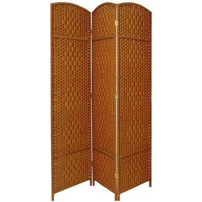 Diamond Weave 3 Panel Room Divider in Dark Beige