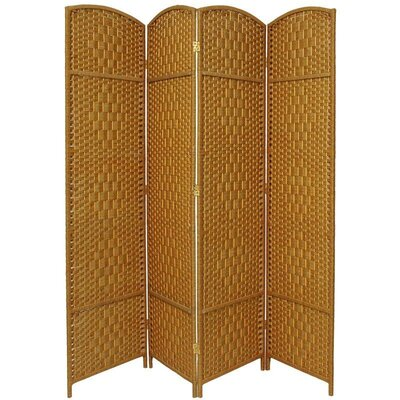 Diamond Weave 4 Panel Room Divider in Light Beige