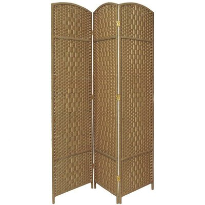 Oriental Furniture Diamond Weave 3 Panel Room Divider in Natural