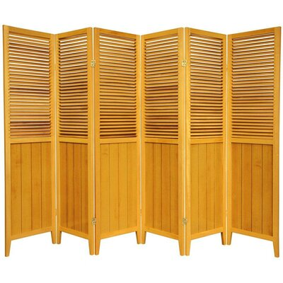Oriental Furniture Beadboard 6 Panel Room Divider in Honey